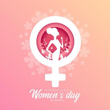 International women day banner - woman Raised Fist and butterfly flying on flower park in white female symbol vector design