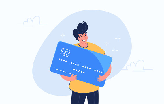Happy smiling man hugging big credit card. Flat modern concept vector illustration of people who use credit and debit bank card for payment and banking. Casual consumer with card on white background