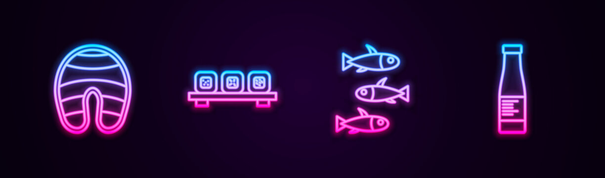 Set line Fish steak, Sushi on cutting board, Fishes and Sauce bottle. Glowing neon icon. Vector.