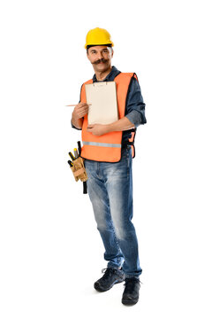 Construction worker with moustache holding clipboard isolated on white background