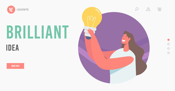 Brilliant Idea Landing Page Template. Happy Female Character Holding Glowing Lamp, Woman with Lightbulb Thinking