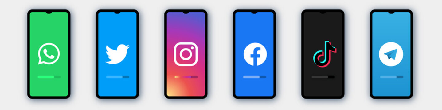 Modern frameless smartphone mock up with facebook, instagram, twitter, youtube, whatsapp telegram phone screen . Collection of popular social media logo template for business strategy , online shoppin
