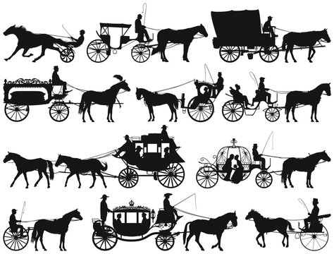 antique and new horse drawn coach carriage vector silhouette collection