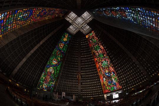 Rio de Janeiro, Brazil - January 23, 2021: Interior of the metropolitan cathedral. The church is dedicated to Saint Sebastian, the patron saint of Rio de Janeiro.