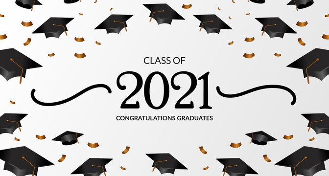 class of 2021. congratulation of graduation with 3d frame diploma cap and confetti. education academy school learning