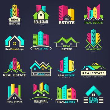 Real estate badges. Business construction logo houses elegant symbols recent vector illustrations. Business logo real estate company, badge bulding