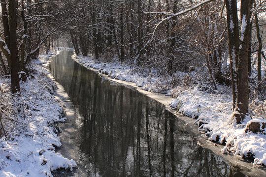 Winter im Spreewald; Fließ bei Leipe