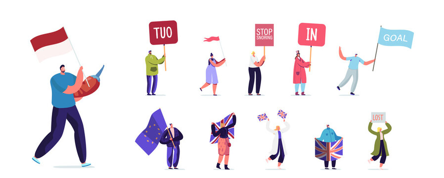 Set People with Different Banners. Male Female Characters Hold Signboard TUO, Stop Snoring, In or Goal, Men and Women