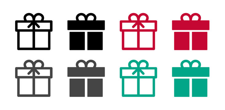 Gift box icon. Set of gift boxes. Gift. Vector illustration.
