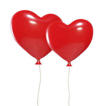 balloons in shape of heart, red, valentine's day, isolated on white background, 3D render