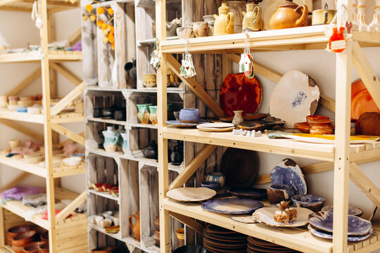 Interior of the Creative pottery studio with elements of pottery and tools for decoration