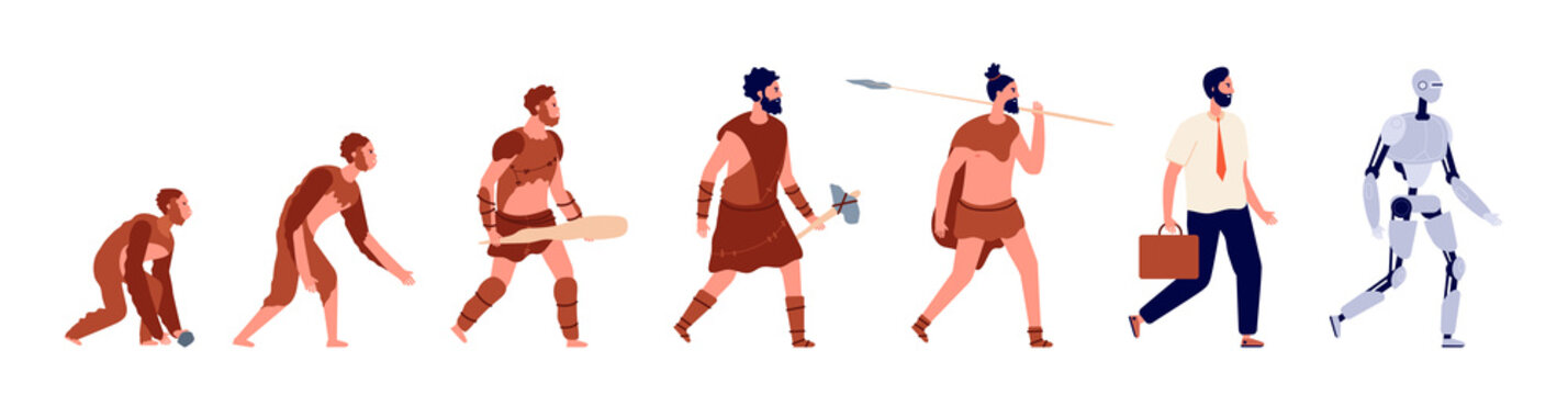 Human evolution. Animal man, business clothes person cyborg. Primitive caveman, stone ages male character, anthropology vector concept. Monkey and caveman, evolution primate development illustration