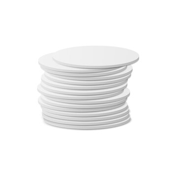 Stacked in pile circle white beer coasters, 3d vector illustration isolated.