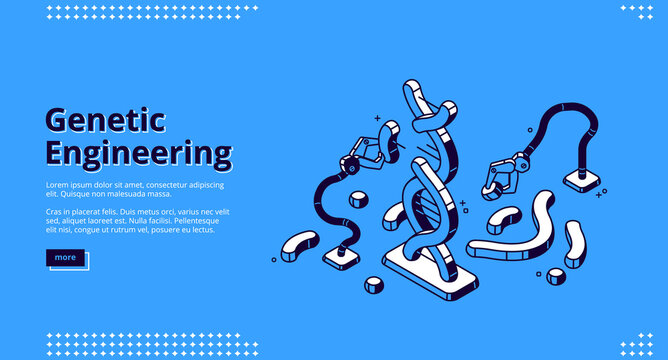 Genetic engineering landing page, dna projection