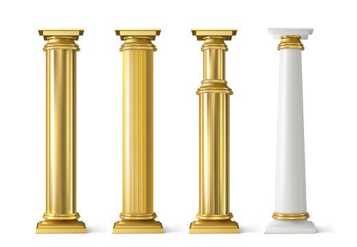 Antique gold pillars set. Ancient golden columns