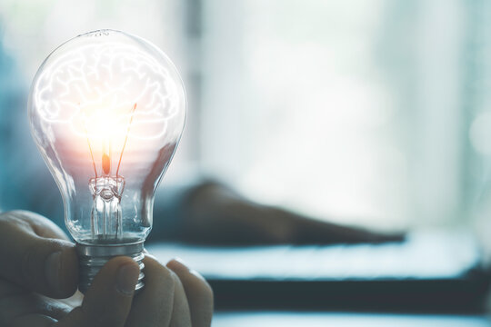 Businessman holding glowing lightbulb with brain and using computer laptop to input business strategy idea , creative thinking ideas and innovation concept.