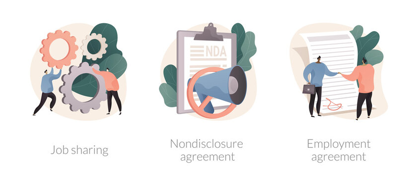 Working terms abstract concept vector illustration set. Job sharing, nondisclosure agreement, employment agreement, part time job, confidential information, financial relations abstract metaphor.