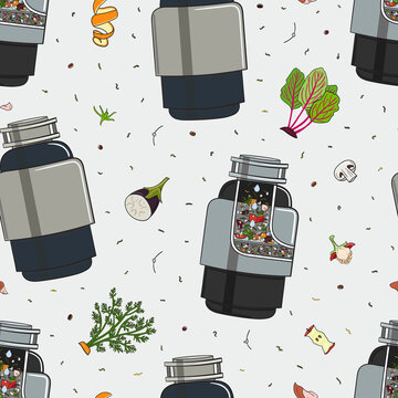 Seamless pattern with food waste disposer for kitchen sink with kitchen scraps and leftovers. Recycling organic waste. Sustainable living, zero waste concept