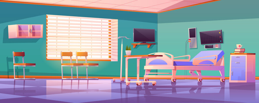 Hospital ward interior with adjustable bed