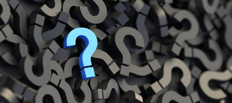 Blue question mark on a background of black signs, FAQ Concept. 3D Rendering