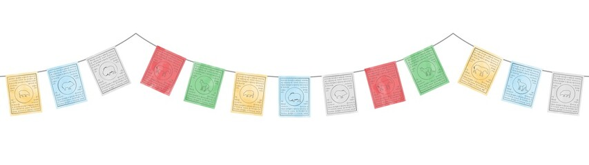 Fototapeta colorful tibetan flags decoration with watercolor effect vector isolated on white background obraz