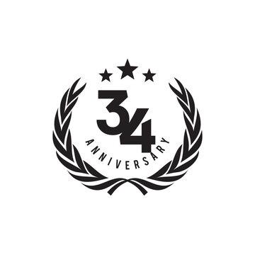 34th year celebrating anniversary logo design template