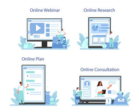 Business diversification online service or platform set. Risk management