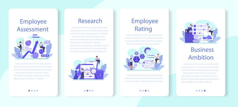 Employee assessment mobile application banner set. Employee evaluation, testing