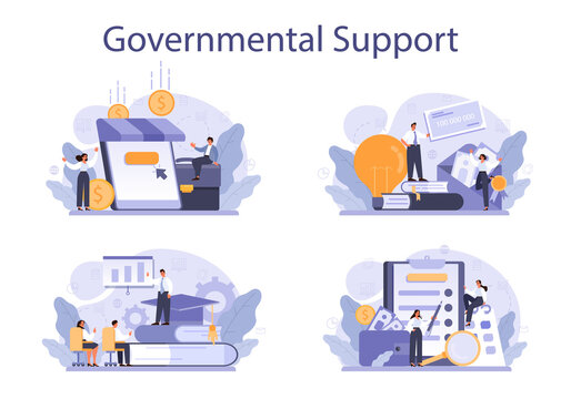 Governmental support set. Business bank loan from a government