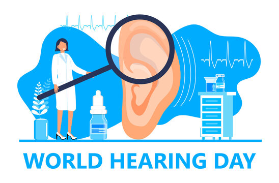 World hearing day concept vector for medical banner, web, app. Tiny doctor treats and examines patient ear. Otolaryngology health care