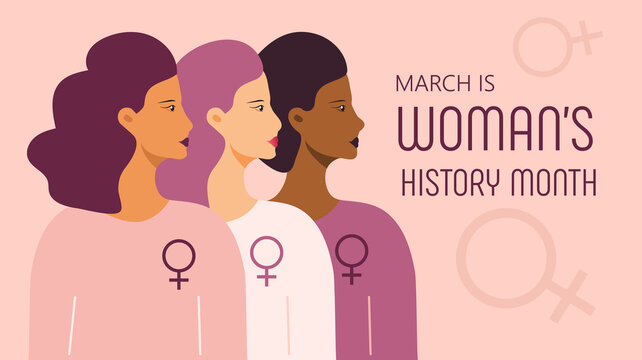 Woman history month concept vector on flat style. Event is celebrated in March in USA, United Kingdom, Australia. Girl power and feminism illustration for web, poster