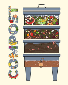Vermicomposter and compost worms. Vermicomposter schematic design, worm composting. Recycling organic waste. Sustainable living, zero waste concept