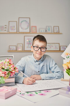 Greeting card Mother's Day. Children's drawing postcard. Gift for mom. Child boy draws picture