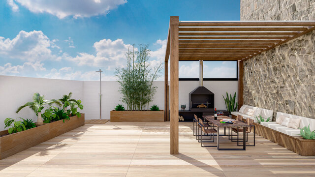 3D render of urban terrace with cozy fireplace.