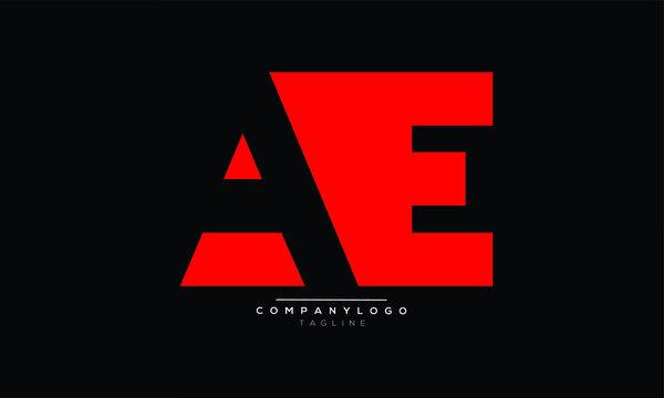 AE icon monogram letter text alphabet logo design