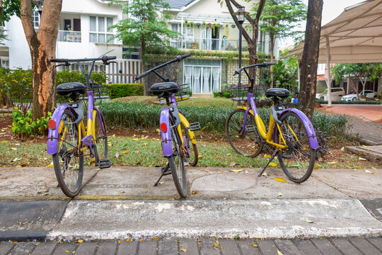 Rusty unused bicycles to encourage people to use instead of cars for transport