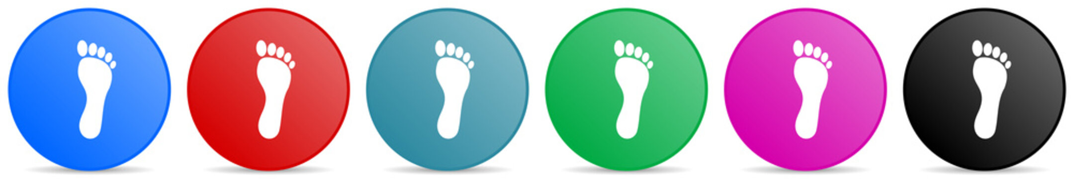 Foot vector icons, set of circle gradient buttons in 6 colors options for webdesign and mobile applications