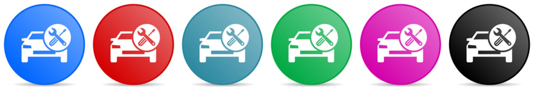Auto service, car repair vector icons, set of circle gradient buttons in 6 colors options for webdesign and mobile applications