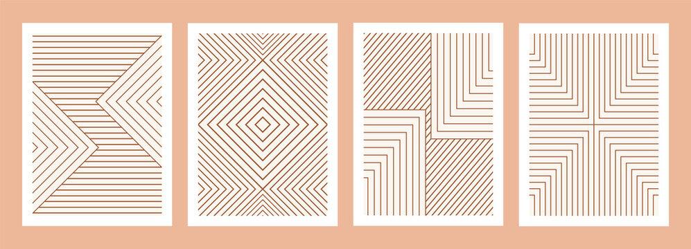 Geometric minimal prints set, mid century modern art, boho geometric stripes
