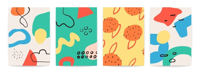 Abstract doodle shapes posters. Colorful pictures set. Bright and creative drawings. Vector illustration