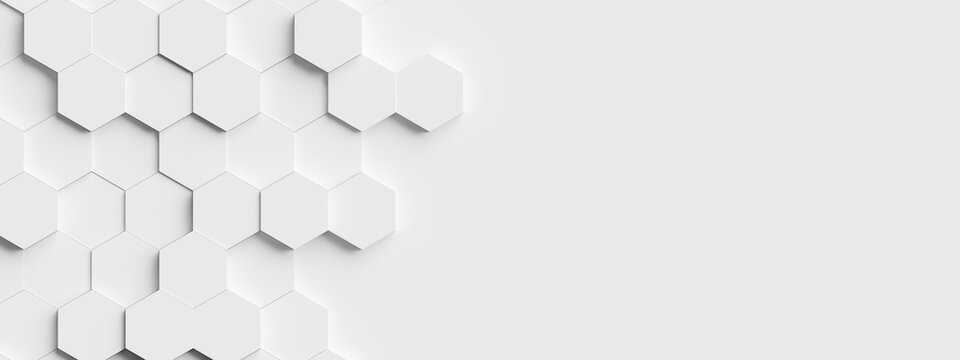 Random shifted white honeycomb hexagon background wallpaper banner pattern with copy space
