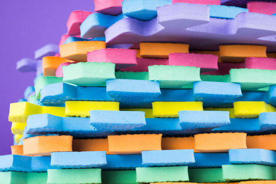 children's colorful carpet puzzle stack background