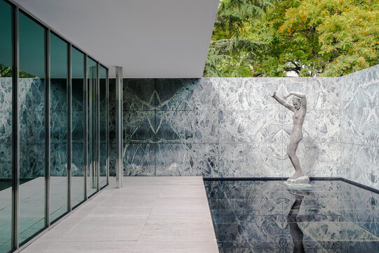 Barcelona, Spain - July 3 2016: Exterior of the Barcelona Pavilion designed by Mies Van Der Rohe for the 1929 World Exposition