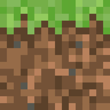 Pixel minecraft style land block background. Concept of game ground pixelated horizontal seamless background. Vector illustration