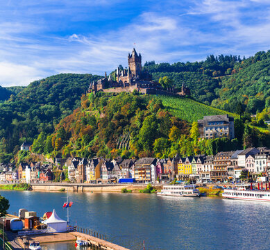 Travel and landmarks of Germany - medieval town Cochem popular for river cruises