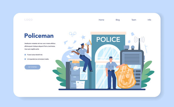 Police officer web banner or landing pag. Detective making investigation