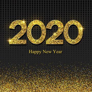 2020 gold glitter happy new year