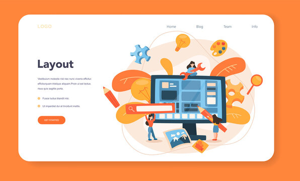 Layout designer web banner or landing page. Web development