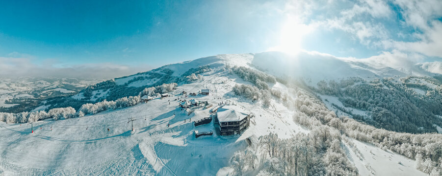 360 degree panoramic view of the ski resort. Winter landscape.