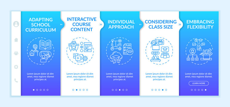 Online teaching tips onboarding vector template. Individual approach and considering class size. Responsive mobile website with icons. Webpage walkthrough step screens. RGB color concept